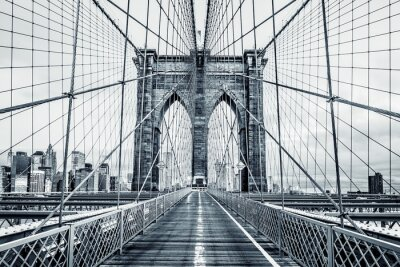 Wall mural Black and white Brooklyn Bridge