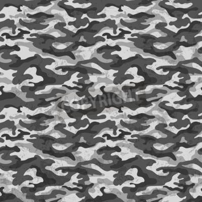 Wall mural Black and white camouflage with grunge effect background. Vector illustration