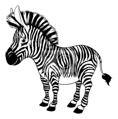 Black and white cartoon zebra
