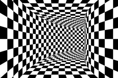 Wall mural Black and White Checkered Square Walled Tunnel Abstract Background