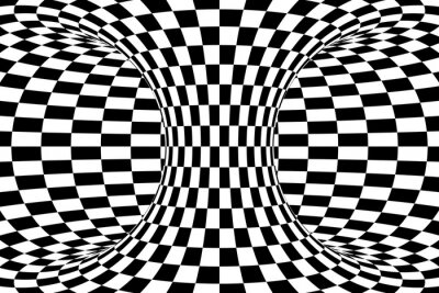Wall mural Black and White Checkered Torus Abstract Background
