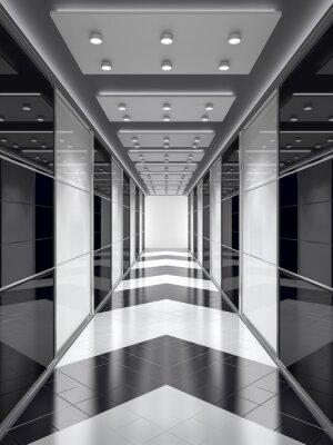 Wall mural Black-and-white corridor.
