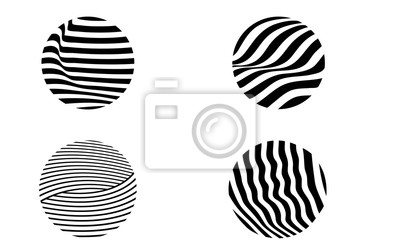 Wall mural black and white illusive circle op art