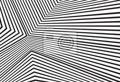 Wall mural black and white mobious wave stripe optical abstract design