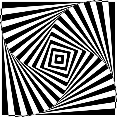 Wall mural Black and White Optical Illusion Vector Illustration.