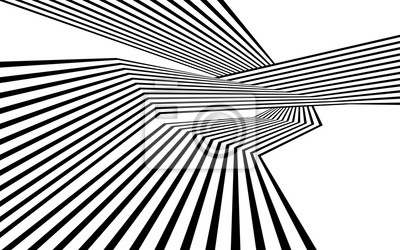 Wall mural black and white stripe line abstract graphic optical art