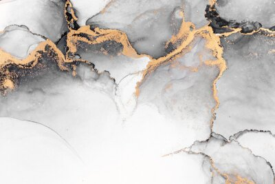Wall mural Black gold abstract background of marble liquid ink art painting on paper . Image of original artwork watercolor alcohol ink paint on high quality paper texture .