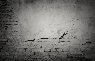 Wall mural Black grunge weathered, cracked brick wall texture