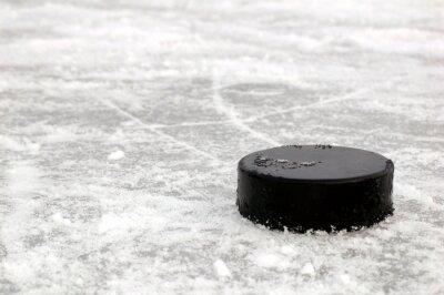 Wall mural black hockey puck on ice rink