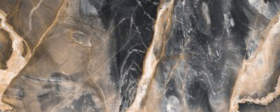 Wall mural Black marble texture background with golden veins, Black marble natural pattern for background, Abstract black white and gold, Black and yellow marble for ceramic wall and floor tiles.