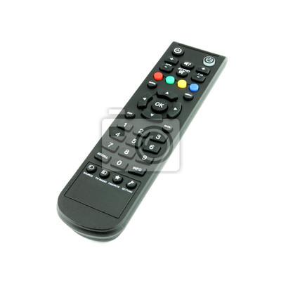 black TV remote control on white