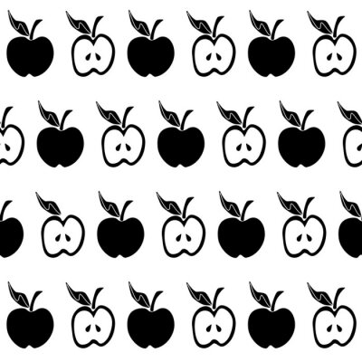Wall mural Black white apple seamless pattern
