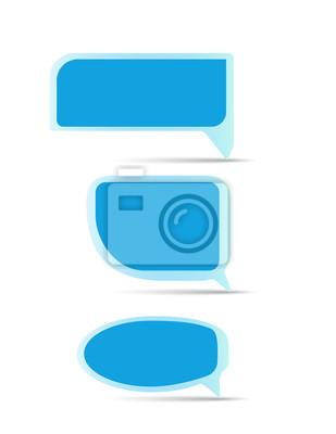 blank blue speech bubble set vector