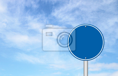 blank circle sign with blue sky