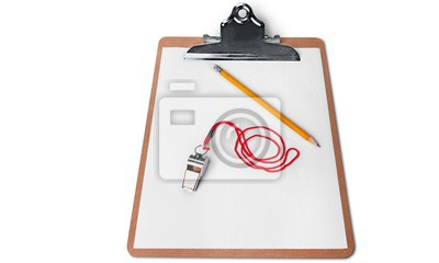 Blank  clipboard with a pen isolated on white background