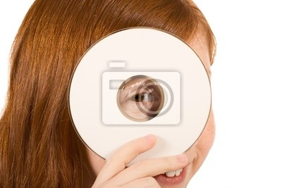 Blank sign - red head girl with CD or DVD disk (copy space)