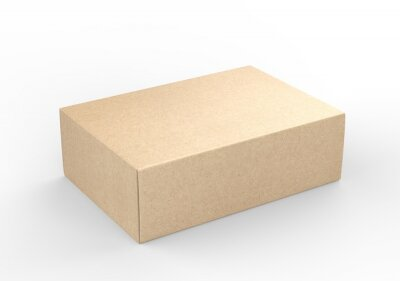 Wall mural Blank white product packaging paper cardboard box. 3d render illustration.