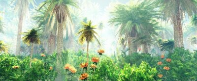 Wall mural Blooming jungle in the fog, flowers among palm trees, palm trees in the fog