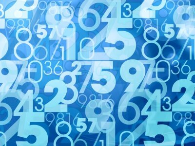 Wall mural blue abstract numbers