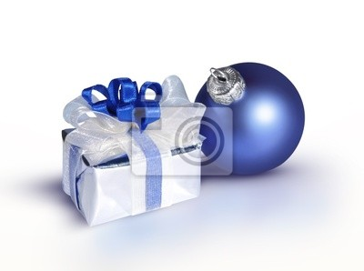 blue bauble and a gift on a white background