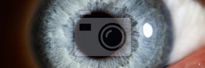 Wall mural Blue eye male human super macro closeup. Healthy vision test concept