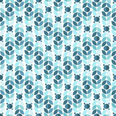 Wall mural Blue Geometric Retro Seamless Pattern