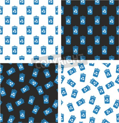 Wall mural Blue Recycling Trash Can for Paper Waste Aligned & Random Seamless Pattern White Color Set