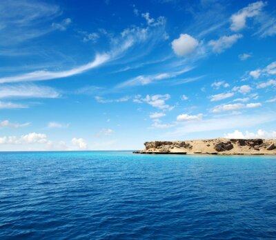 blue sea and rocks.