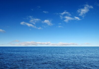Wall mural Blue sea with waves and sky