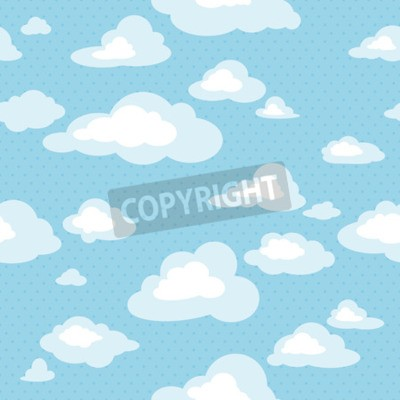 Wall mural Blue sky with clouds, vector seamless pattern
