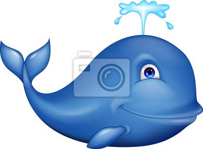 Wall mural Blue whale cartoon