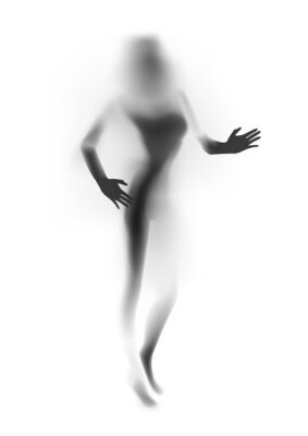 Wall mural Blurred sexy woman silhouette, hands. Vector illustration.