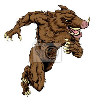 Boar sports mascot running