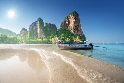 boats on Railay beach in Krabi Thailand
