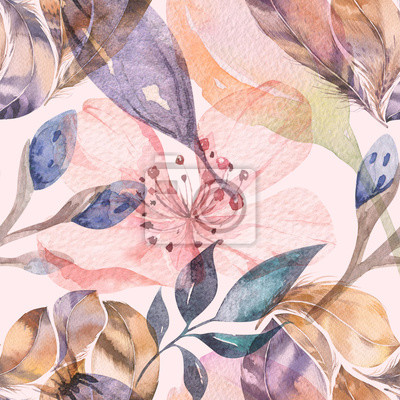 Wall mural Boho seamless watercolor pattern of feathers and wild flowers, leaves, branches flowers, illustration, love and feathers, bohemian decoration spring blossom