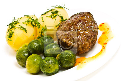 Wall mural Boiled potatoes with dill, cutlet