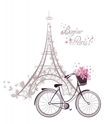 Wall mural Bonjour Paris text with Eiffel Tower and bicycle