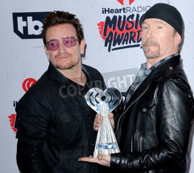 Wall mural Bono and The Edge of U2 at the 2016 iHeartRadio Music Awards held at the Forum in Inglewood, USA on April 3, 2016.
