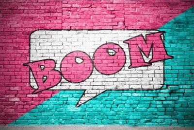 Wall mural Boom Comic  Ziegelsteinmauer Graffiti