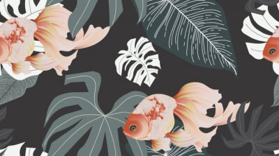 Wall mural Botanical seamless pattern, pink lotus flowers and goldfish on dark grey background, pastel vintage style
