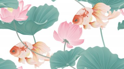 Wall mural Botanical seamless pattern, pink lotus flowers and goldfish on white background, pastel vintage style