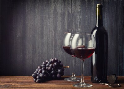 Wall mural Bottle and two glasses of red wine