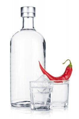 Wall mural Bottle of vodka and shot glass with ice and red chili pepper