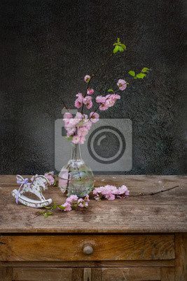 Bouquet of pink flower with rocking horse