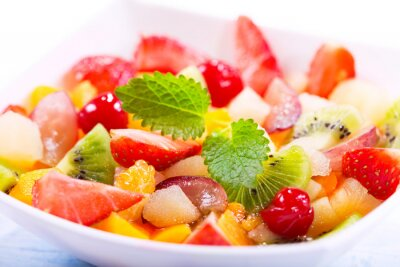 Wall mural bowl of fruit salad