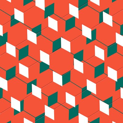 Wall mural Box abstract cubist art illusion in orange and green