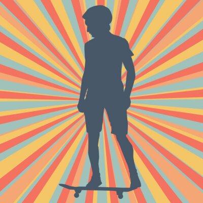 Wall mural Boy skateboarding vector background