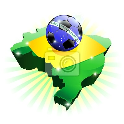 Brasile Mappa Bandiera Calcio-Brazil Soccer Flag on Map-Vector