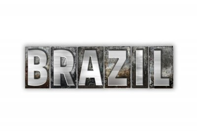 Wall mural Brazil Concept Isolated Metal Letterpress Type