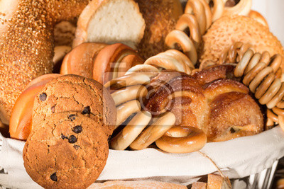 Bread, bun with sugar and drying